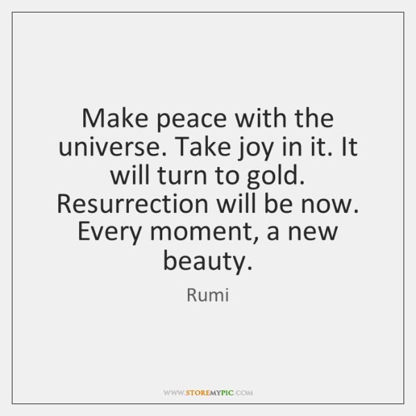 Make peace with the universe. Take joy in it. It will turn ...