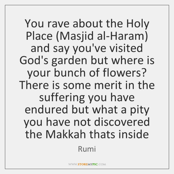 You rave about the Holy Place (Masjid al-Haram) and say you've visited ...