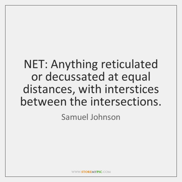 NET: Anything reticulated or decussated at equal distances, with interstices between the ...