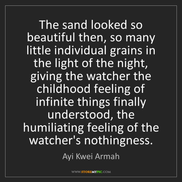 Ayi Kwei Armah: The sand looked so beautiful then, so many little individual...