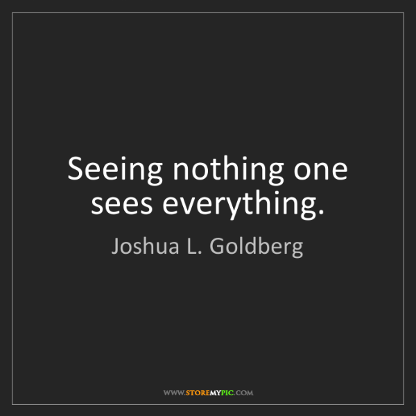Joshua L. Goldberg: Seeing nothing one sees everything.