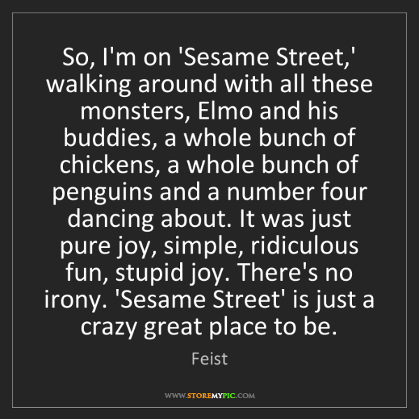 Feist: So, I'm on 'Sesame Street,' walking around with all these...