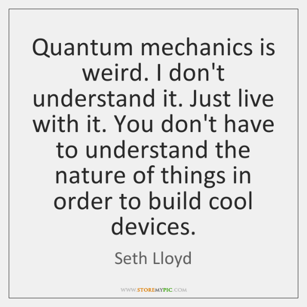 Quantum mechanics is weird. I don't understand it. Just live with it. ...