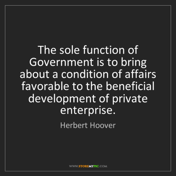Herbert Hoover: The sole function of Government is to bring about a condition...