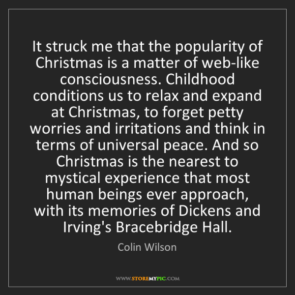 Colin Wilson: It struck me that the popularity of Christmas is a matter...