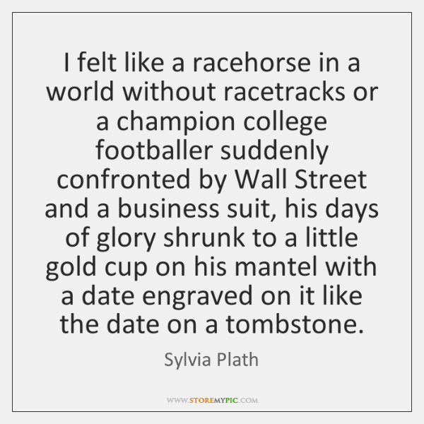 I felt like a racehorse in a world without racetracks or a ...
