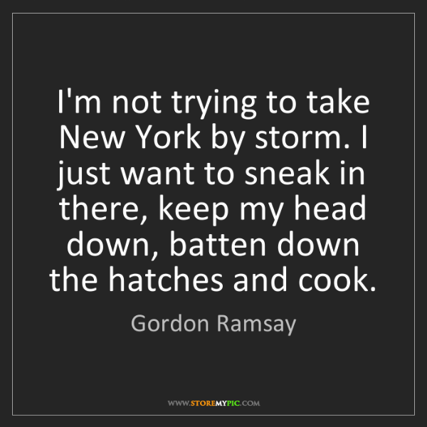Gordon Ramsay: I'm not trying to take New York by storm. I just want...