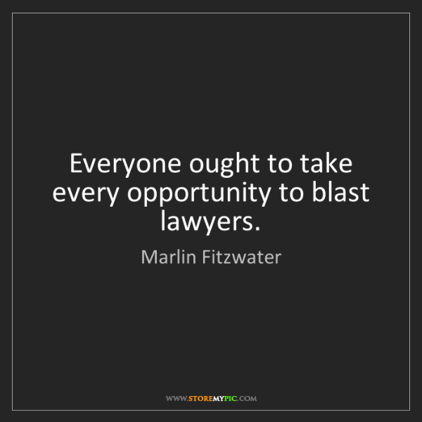Marlin Fitzwater: Everyone ought to take every opportunity to blast lawyers.