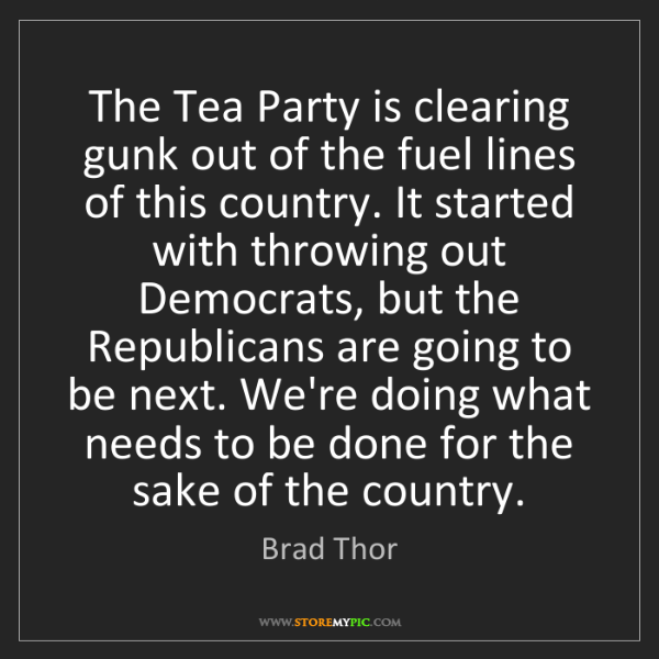 Brad Thor: The Tea Party is clearing gunk out of the fuel lines...