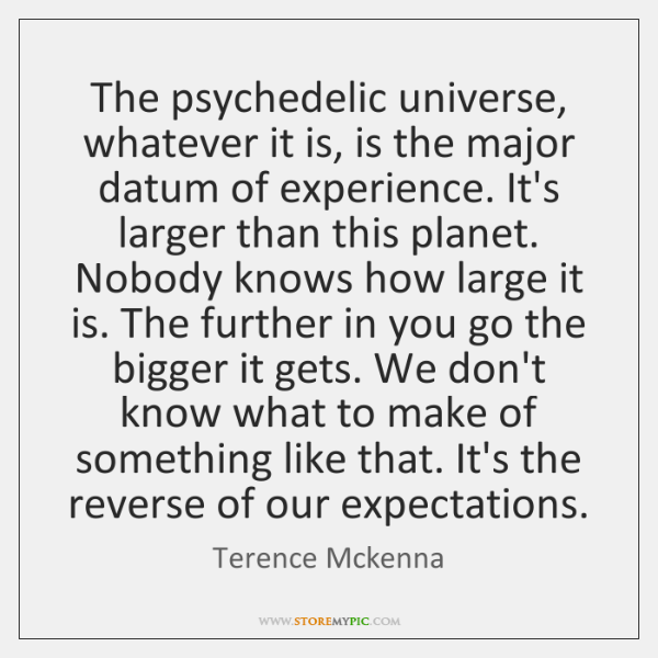 The psychedelic universe, whatever it is, is the major datum of experience. ...