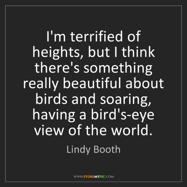 Lindy Booth: I'm terrified of heights, but I think there's something...