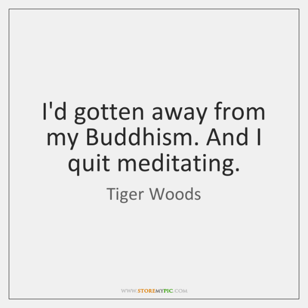 I'd gotten away from my Buddhism. And I quit meditating.