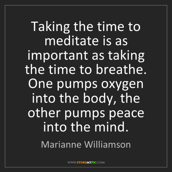 Marianne Williamson: Taking the time to meditate is as important as taking...