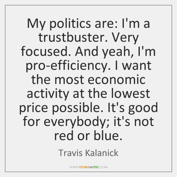 My politics are: I'm a trustbuster. Very focused. And yeah, I'm pro-efficiency. ...