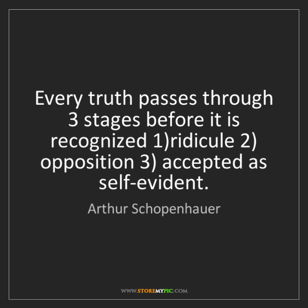 Arthur Schopenhauer: Every truth passes through 3 stages before it is recognized...
