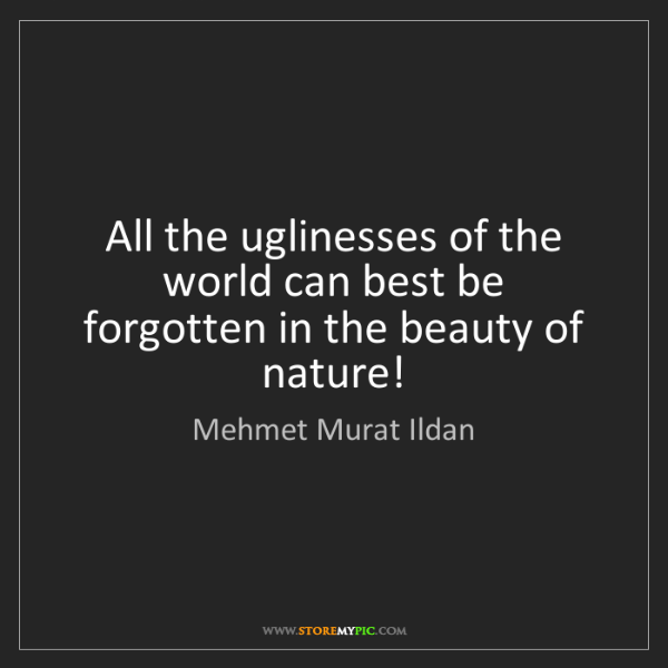 Mehmet Murat Ildan: All the uglinesses of the world can best be forgotten...
