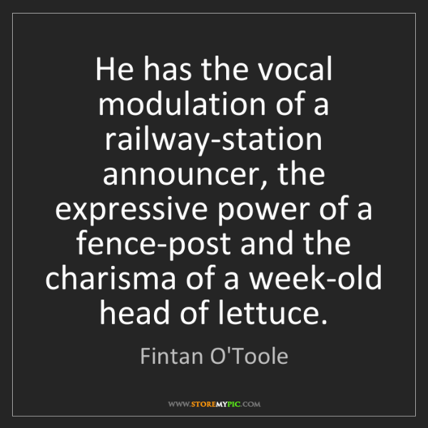 Fintan O'Toole: He has the vocal modulation of a railway-station announcer,...