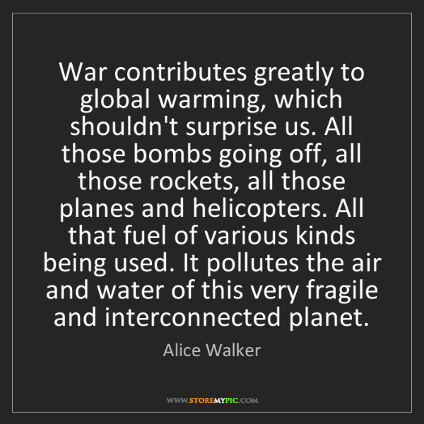 Alice Walker: War contributes greatly to global warming, which shouldn't...