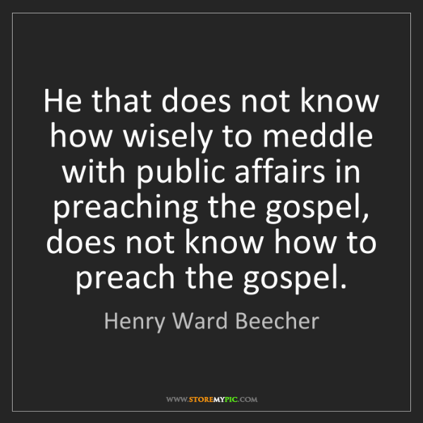 Henry Ward Beecher: He that does not know how wisely to meddle with public...