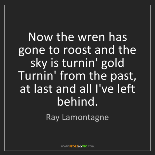 Ray Lamontagne: Now the wren has gone to roost and the sky is turnin'...