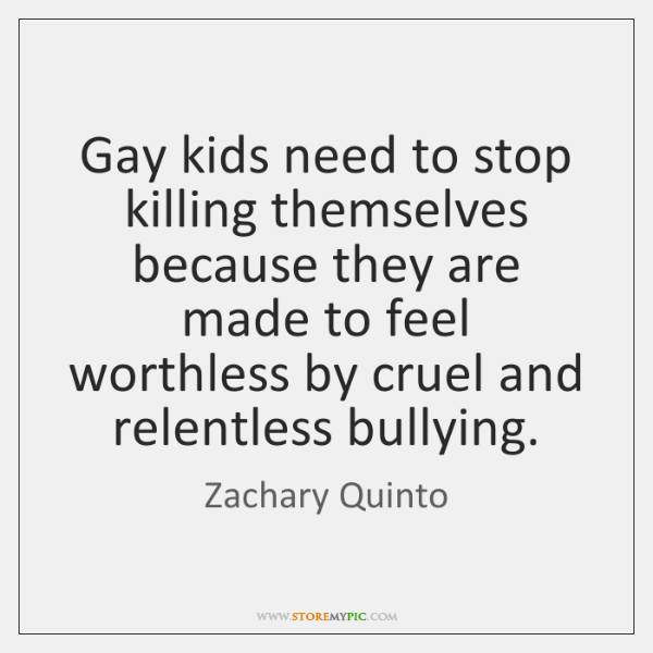Gay kids need to stop killing themselves because they are made to ...