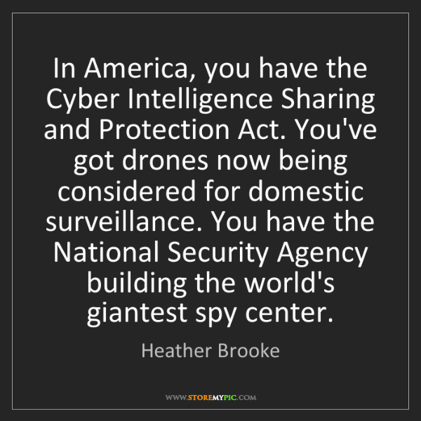 Heather Brooke: In America, you have the Cyber Intelligence Sharing and...