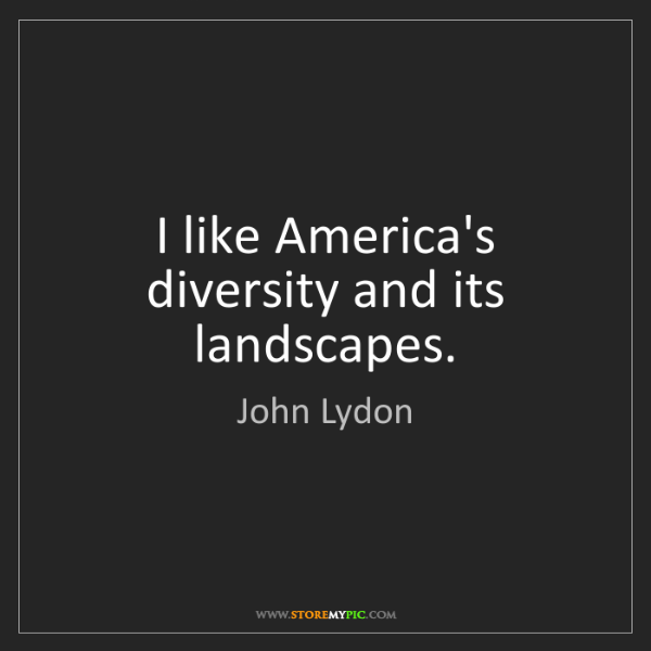 John Lydon: I like America's diversity and its landscapes.