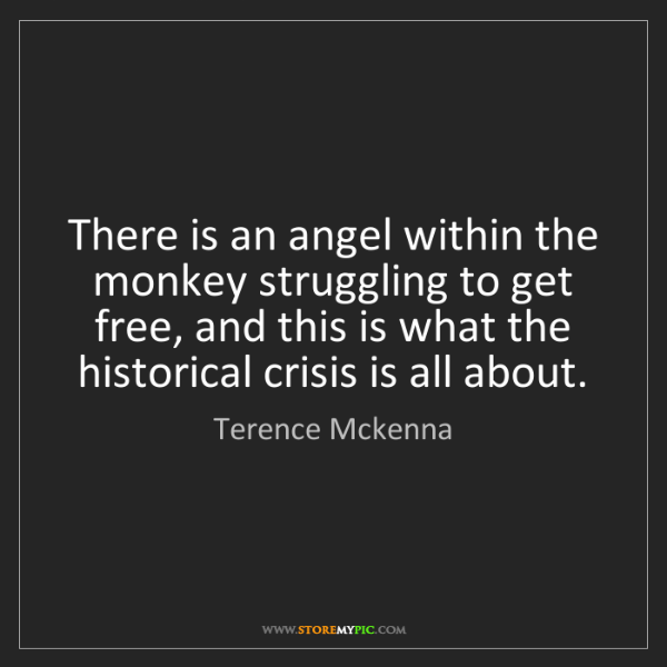 Terence Mckenna: There is an angel within the monkey struggling to get...
