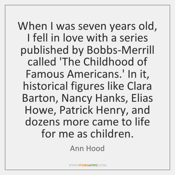 When I was seven years old, I fell in love with a ...