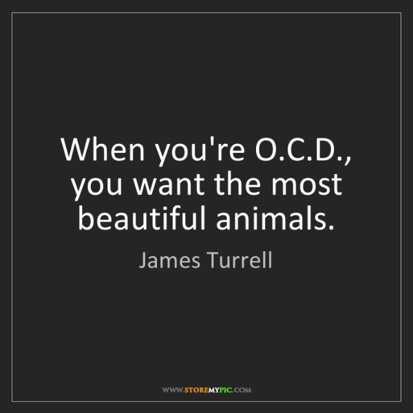 James Turrell: When you're O.C.D., you want the most beautiful animals.