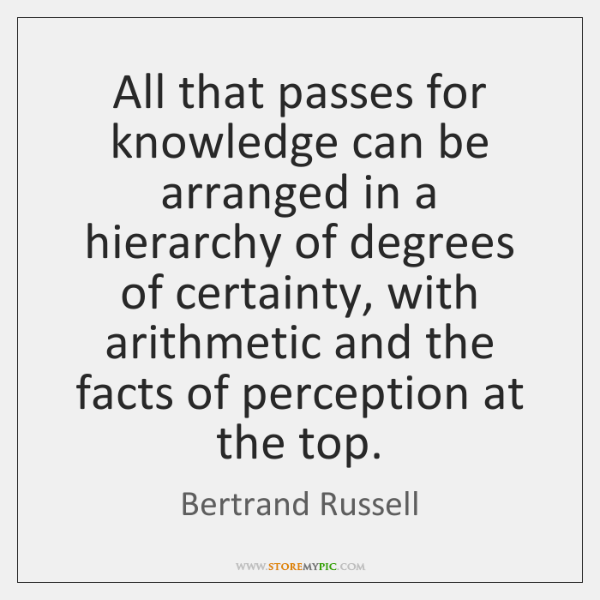 All that passes for knowledge can be arranged in a hierarchy of ...