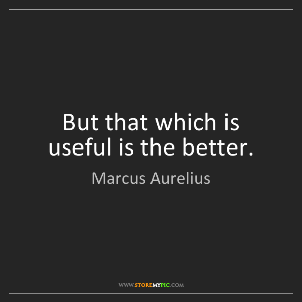 Marcus Aurelius: But that which is useful is the better.