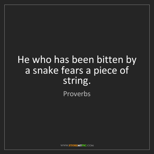 Proverbs: He who has been bitten by a snake fears a piece of string.