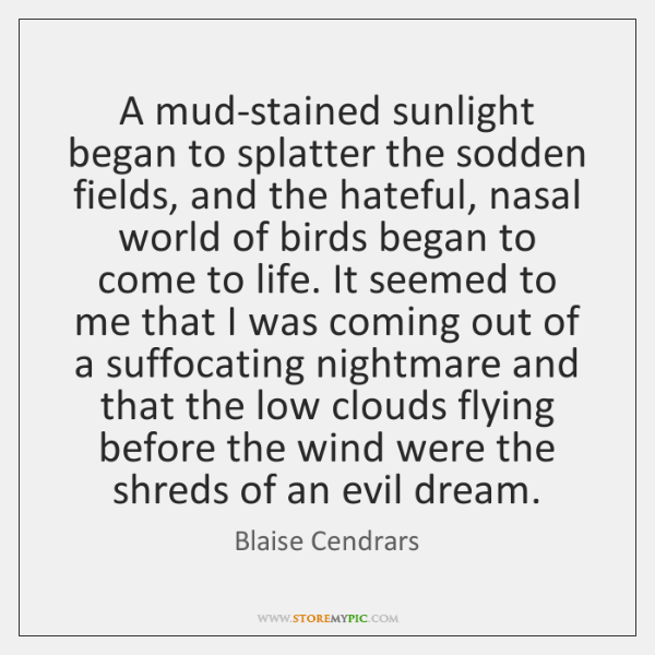 A mud-stained sunlight began to splatter the sodden fields, and the hateful, ...