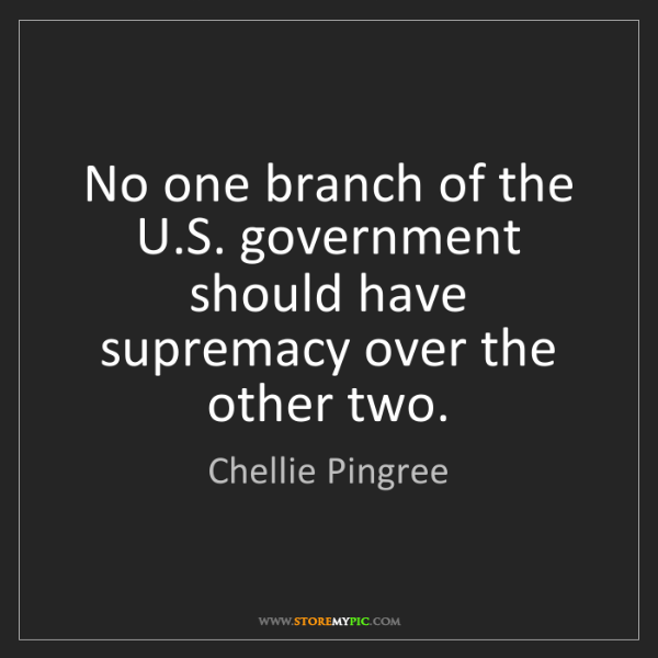 Chellie Pingree: No one branch of the U.S. government should have supremacy...