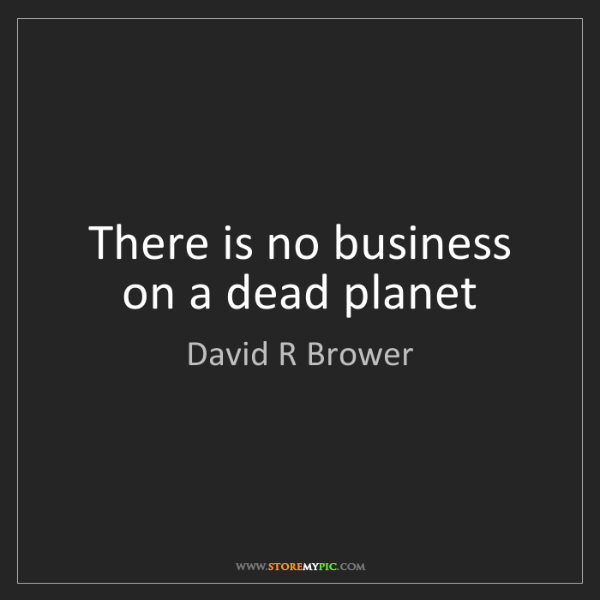 David R Brower: There is no business on a dead planet