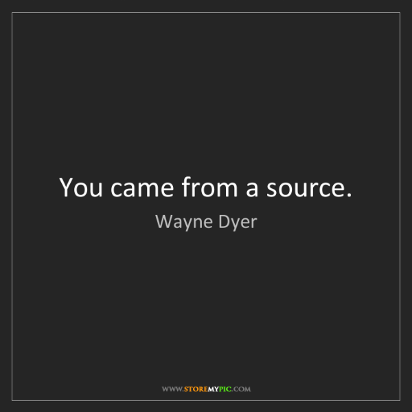Wayne Dyer: You came from a source.