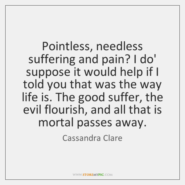 Pointless, needless suffering and pain? I do' suppose it would help if ...