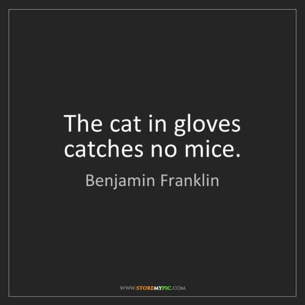 Benjamin Franklin: The cat in gloves catches no mice.
