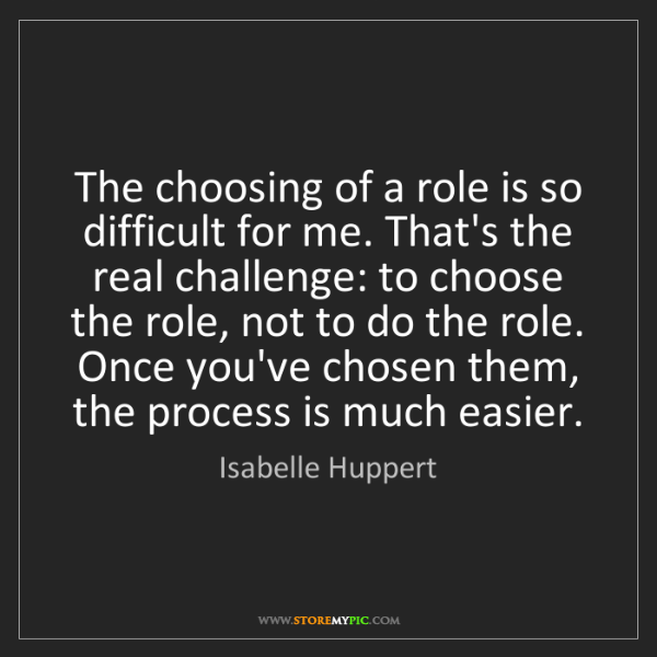 Isabelle Huppert: The choosing of a role is so difficult for me. That's...