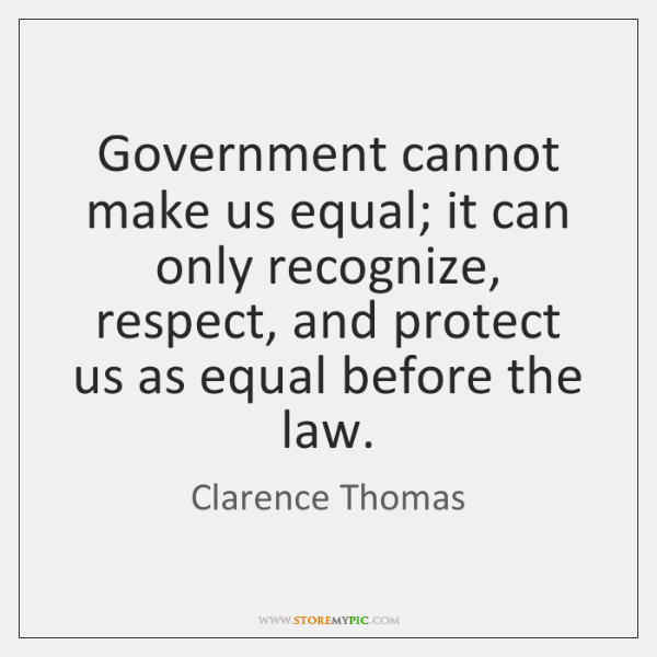 Government cannot make us equal; it can only recognize, respect, and protect ...