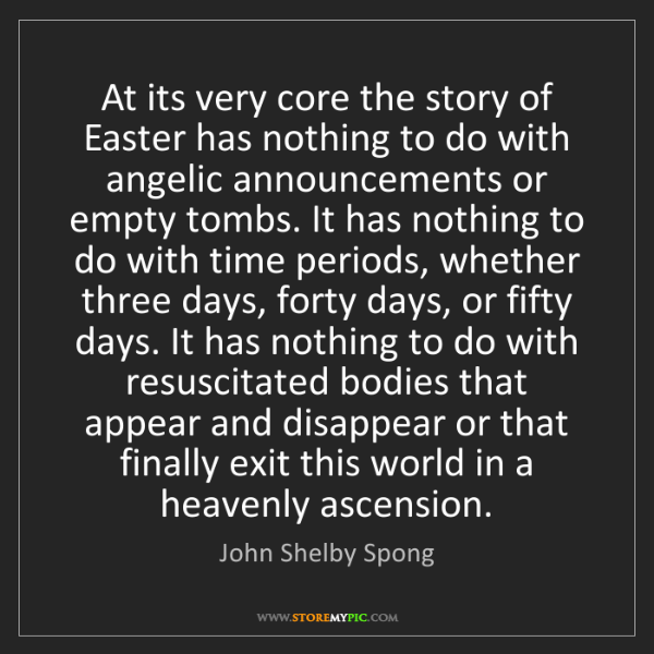 John Shelby Spong: At its very core the story of Easter has nothing to do...