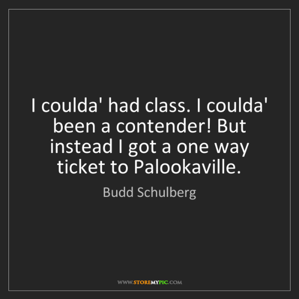 Budd Schulberg: I coulda' had class. I coulda' been a contender! But...