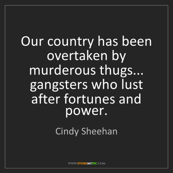 Cindy Sheehan: Our country has been overtaken by murderous thugs......