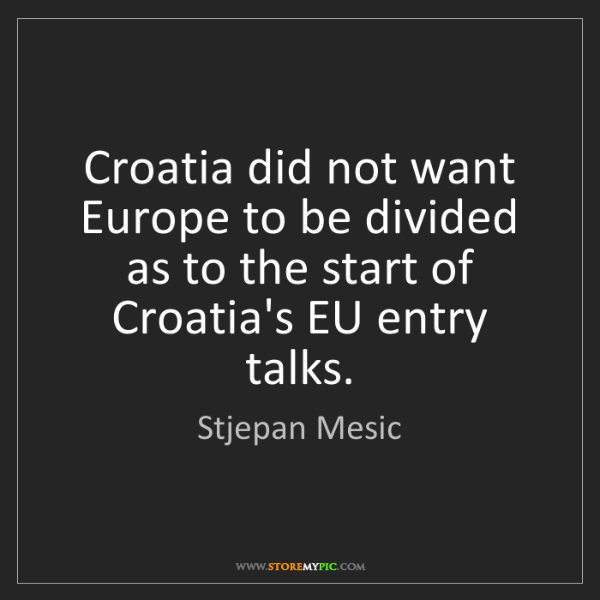 Stjepan Mesic: Croatia did not want Europe to be divided as to the start...