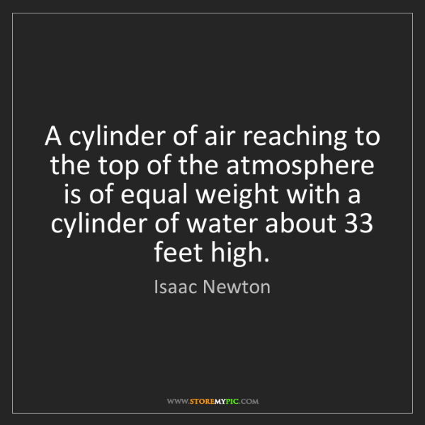 Isaac Newton: A cylinder of air reaching to the top of the atmosphere...