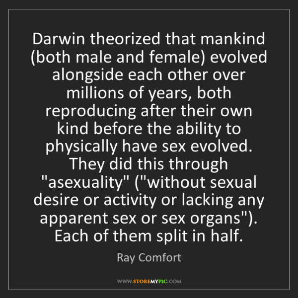 Ray Comfort: Darwin theorized that mankind (both male and female)...