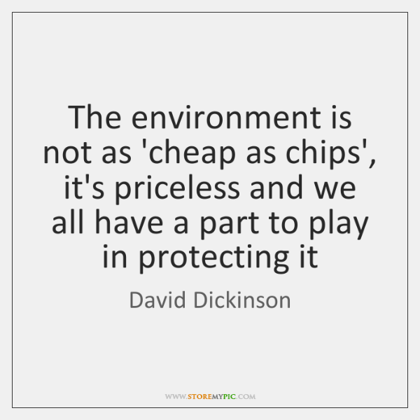 The environment is not as 'cheap as chips', it's priceless and we ...
