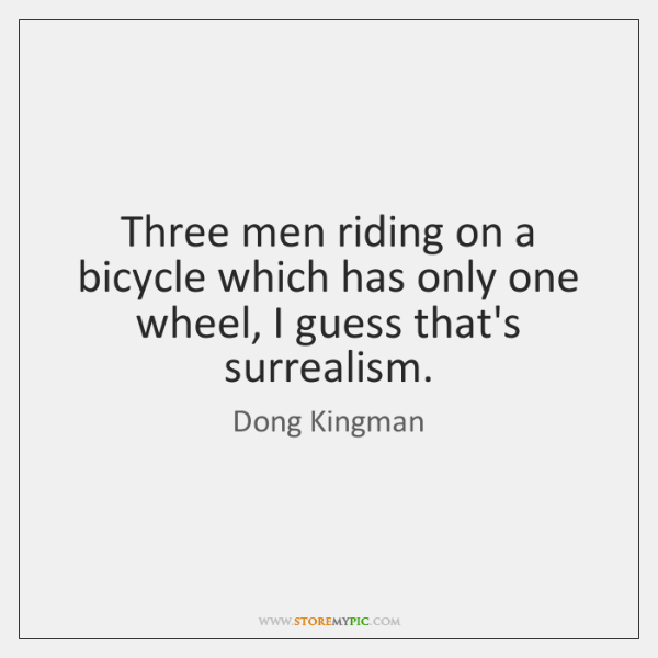 Three men riding on a bicycle which has only one wheel, I ...