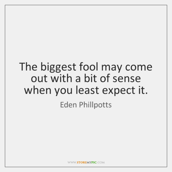 The biggest fool may come out with a bit of sense when ...